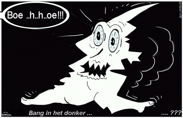Cartoon bang in het donker - angstig  spook in duisternis