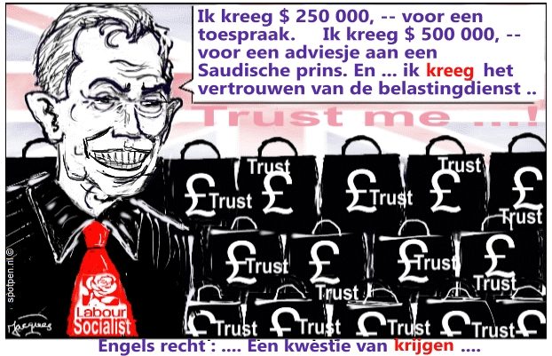 Tony Blair cartoon Engeland -  belastingparadijs