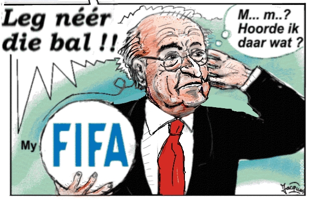 voetballen cartoon  Sepp Blatter