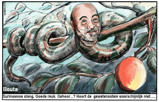Cartoon Bouterse Suriname slang boom appel