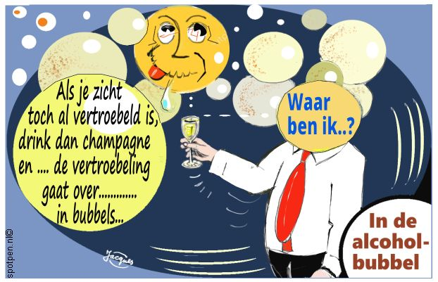 wijn champagne cartoon