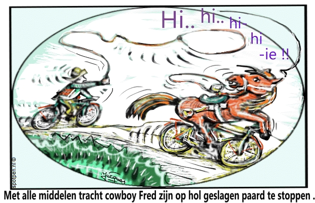 Cowboy  paard cartoon