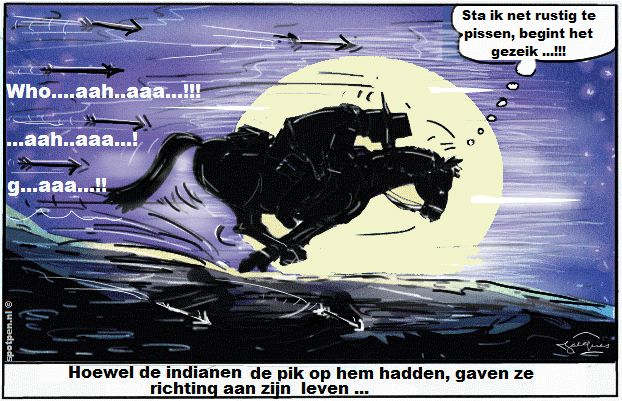Cartoon Western cowboys indianen paardentaal wilde westen