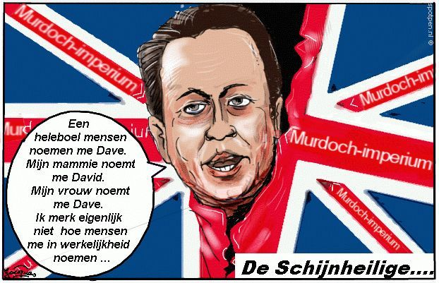Cartoon - Union Jack David Cameron Engelse vlag