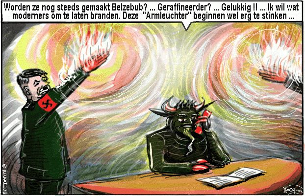 Hitler groet cartoon fascisme nazisme duivel