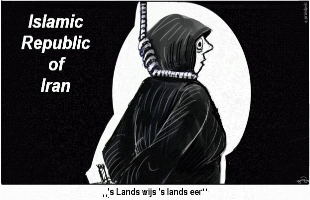 Cartoon doodstraf ophangen strop Iran