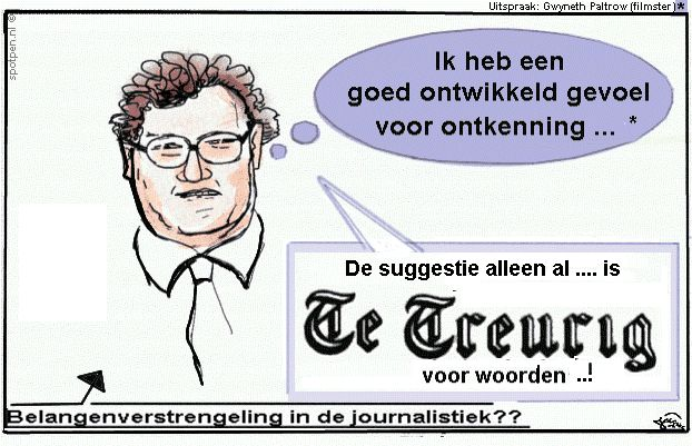 Cartoon journalist - krant - telegraaf  belangenverstrengeling