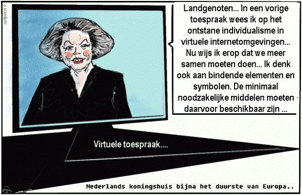 cartoon koningin Beatrix koning