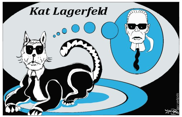 kat poes cartoon Lagerfeld