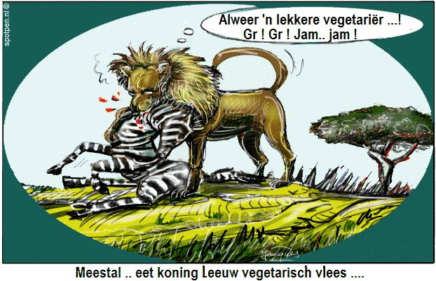 leeuw cartoon vegetariër zebra vegetarisch vlees