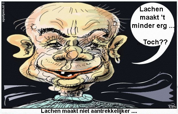 cartoon lachebek lachen op foto