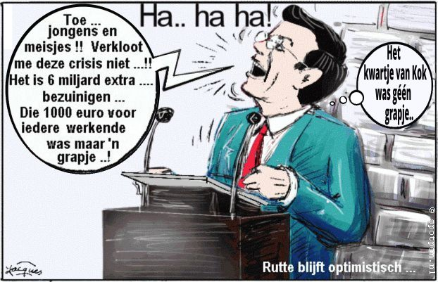 Mark Rutte cartoon bezuinigen