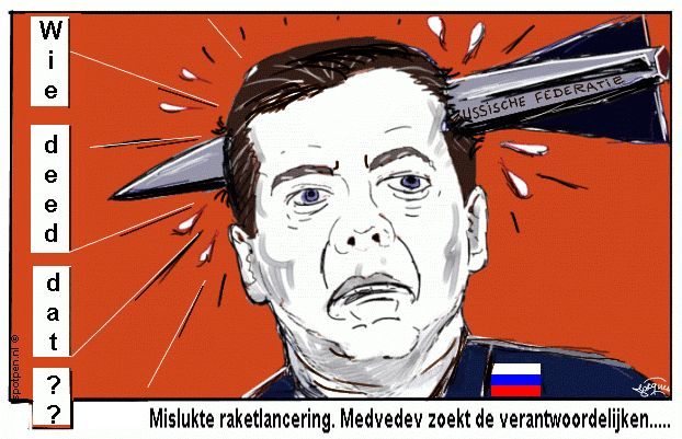 Cartoon  raket satelliet  Rusland Medvedev