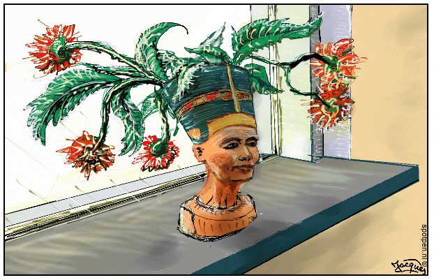 koningin cartoon Egypte Nefertiti
