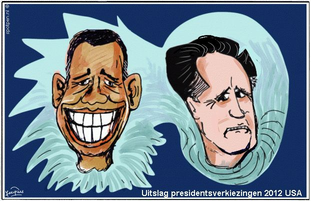 cartoon Obama -  Romney - verkiezingen - USA  - 2012