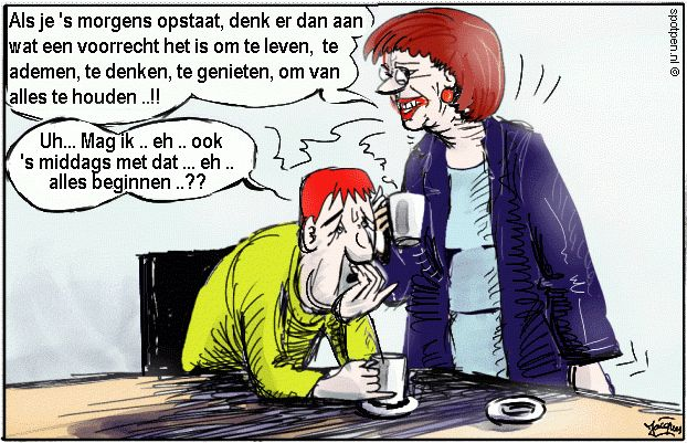 Ochtendmens   avondmens cartoon