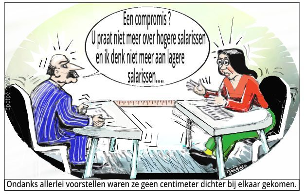 onderhandelingen cartoon