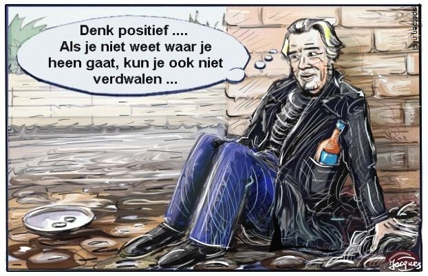 cartoon  zwerver landloper daklozen
