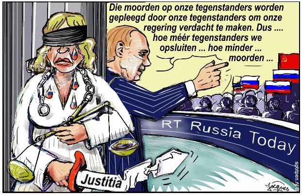 cartoon Poetin Putin Rusland oppositie
