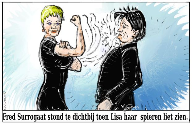 Sterke vrrouw  cartoon