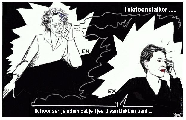 Cartoon stalker hijger telefoon