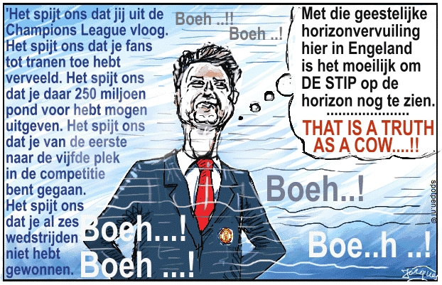 van Gaal cartoon voetbaltrainer coach