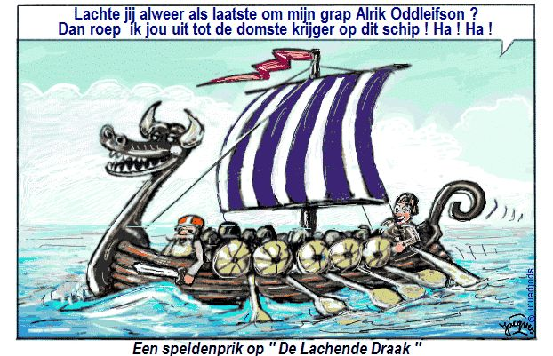 cartoon  Vikingen Noormannen Vikingschip