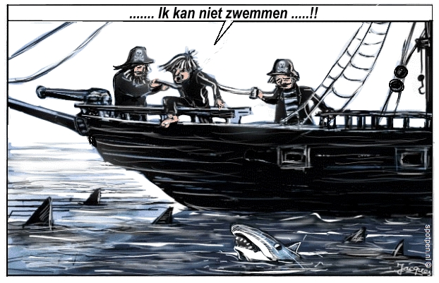 Cartoon piraten zeerovers  haaien zwemmen